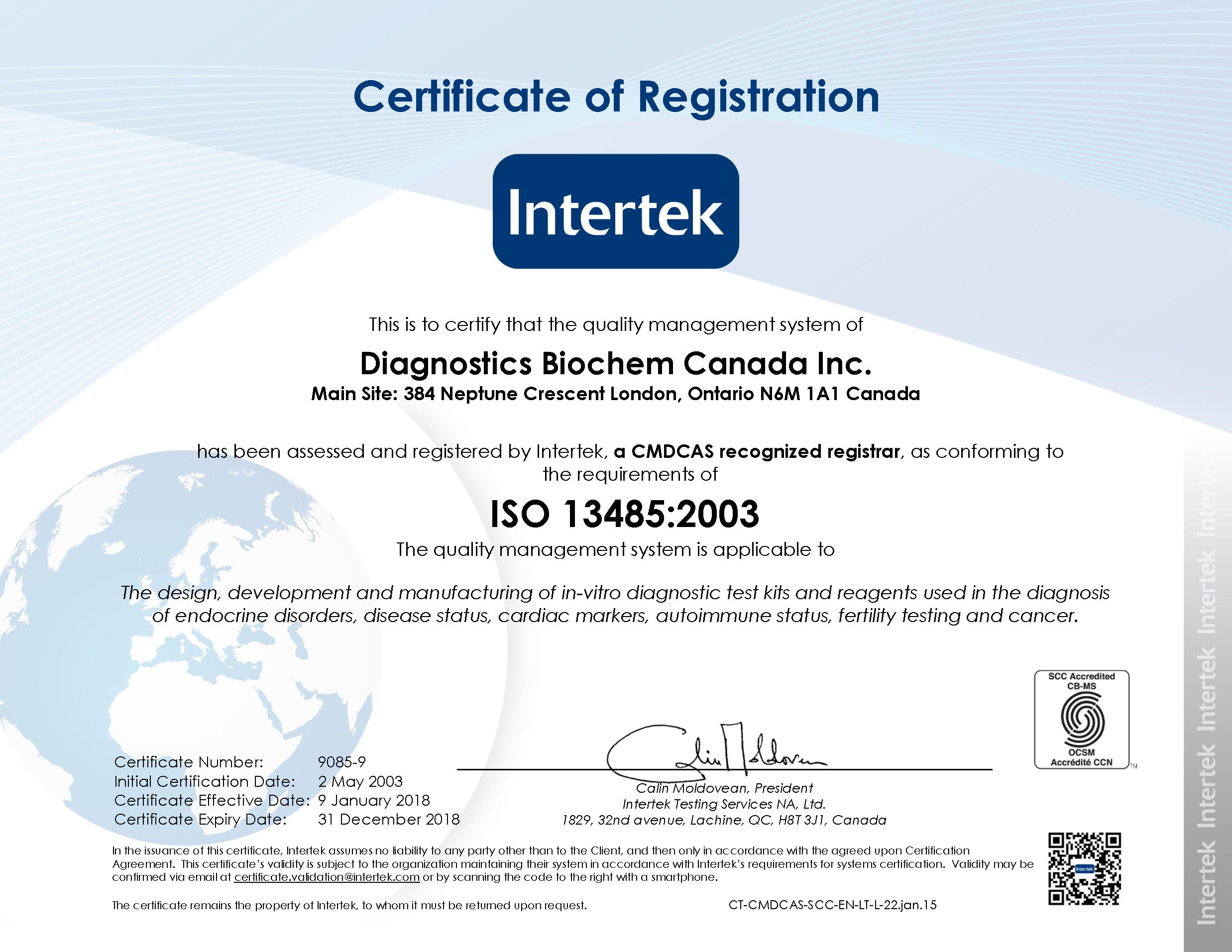 Diagnostics Biochem Canada Inc. ISO 13485:2003 Certificate of Registration