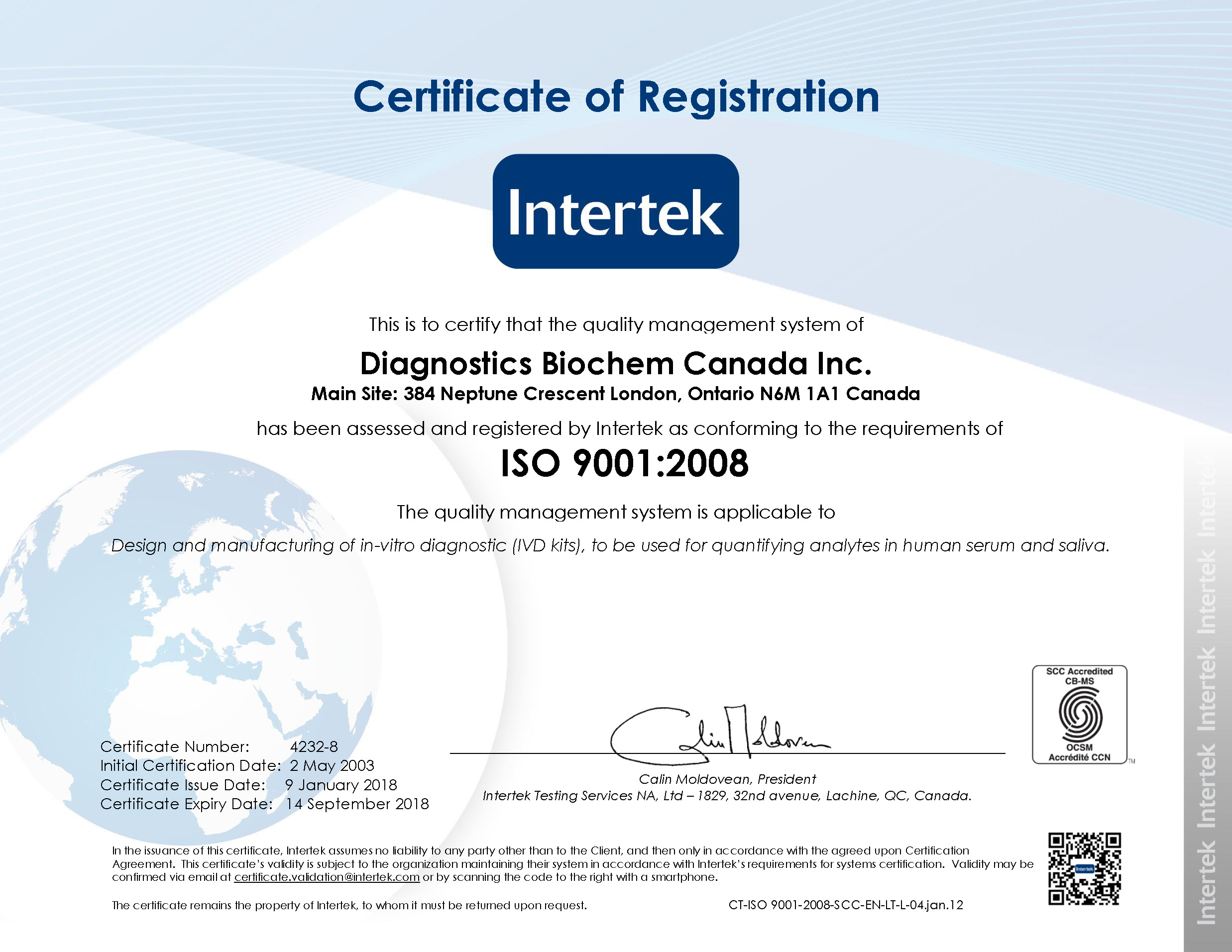 Diagnostics Biochem Canada Inc. ISO 9001:2008 - Certificate of Registration